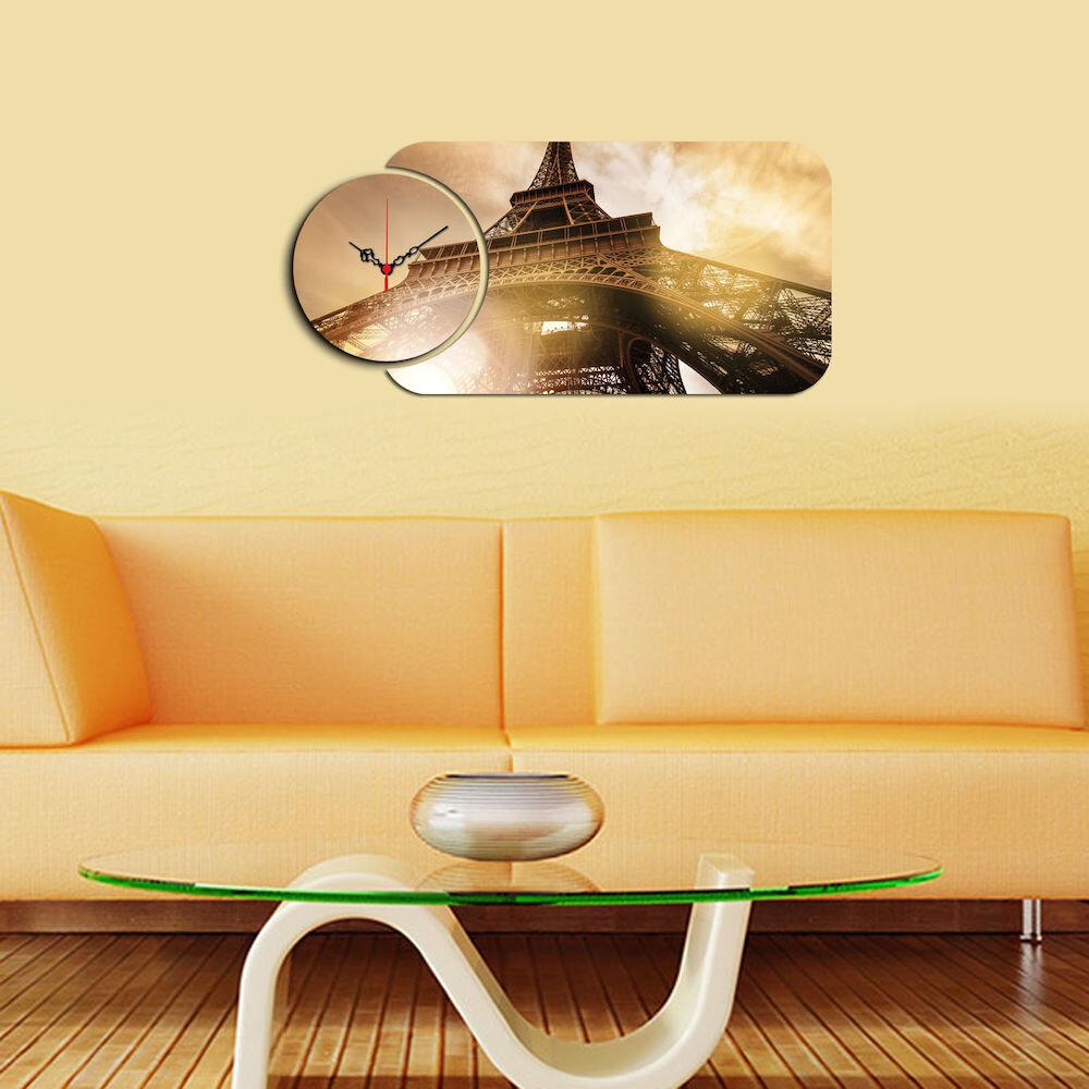 Ceas decorativ de perete din lemn Home Art, 238HMA5127, 2 Piese, MDF
