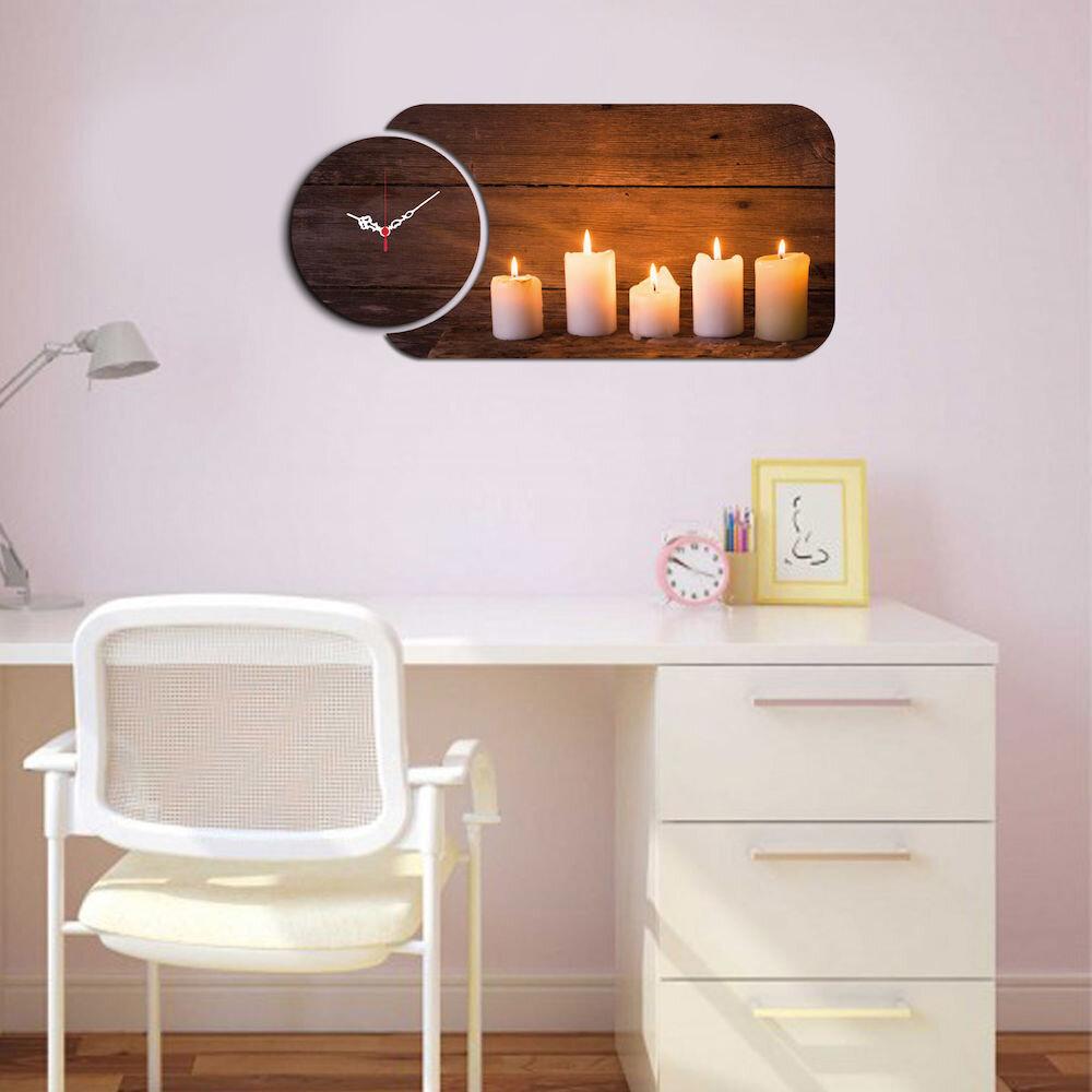 Ceas decorativ de perete din lemn Home Art, 238HMA5131, 2 Piese, MDF