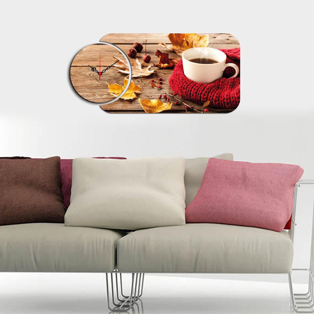 Ceas decorativ de perete din lemn Home Art, 238HMA5133, 2 Piese, MDF