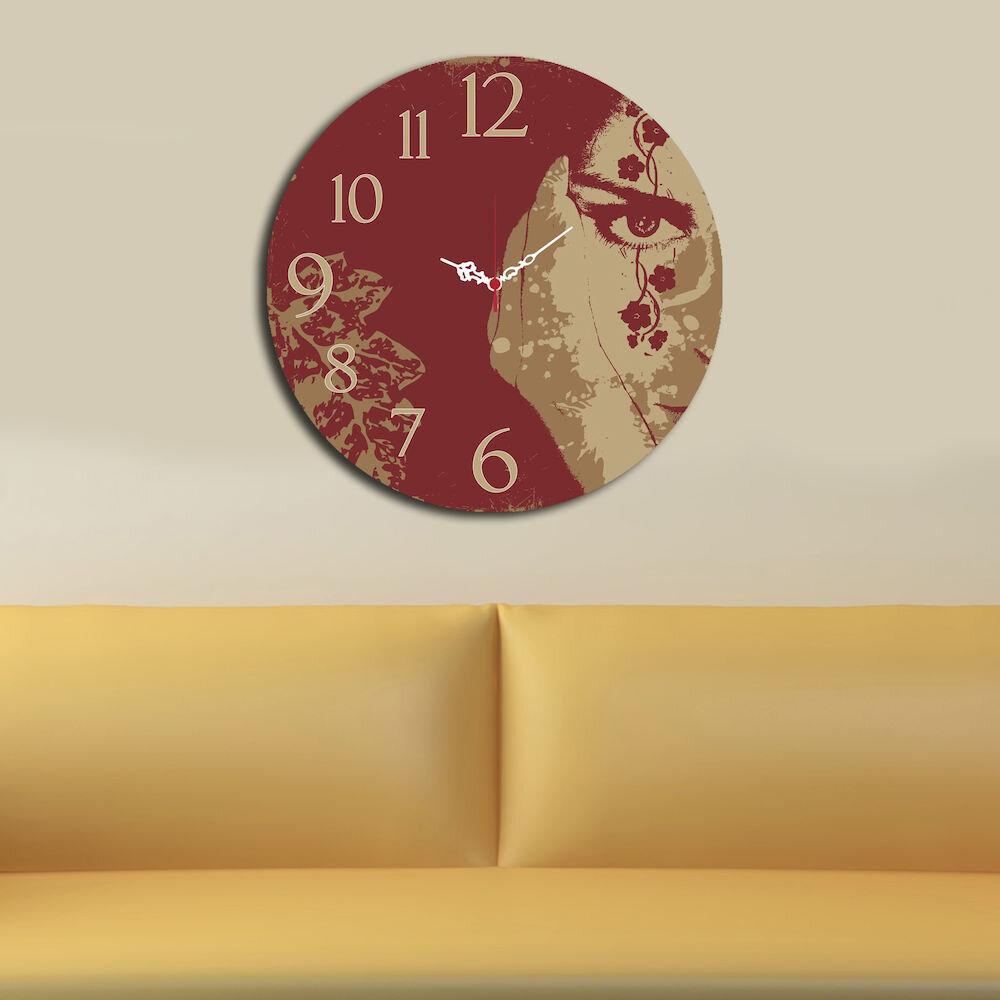 Ceas decorativ de perete din lemn Home Art, 238HMA3107, 40 cm, MDF