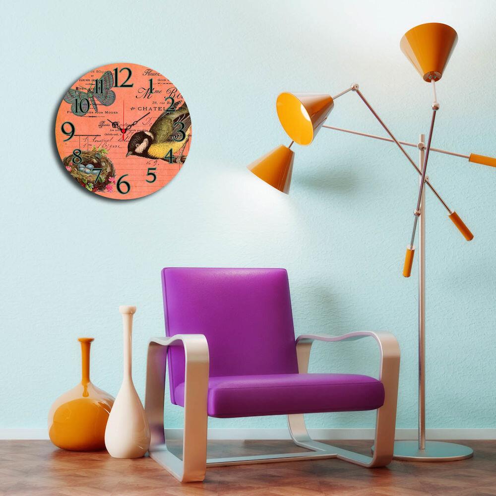 Ceas decorativ de perete din lemn Home Art, 238HMA3132, 40 cm, MDF