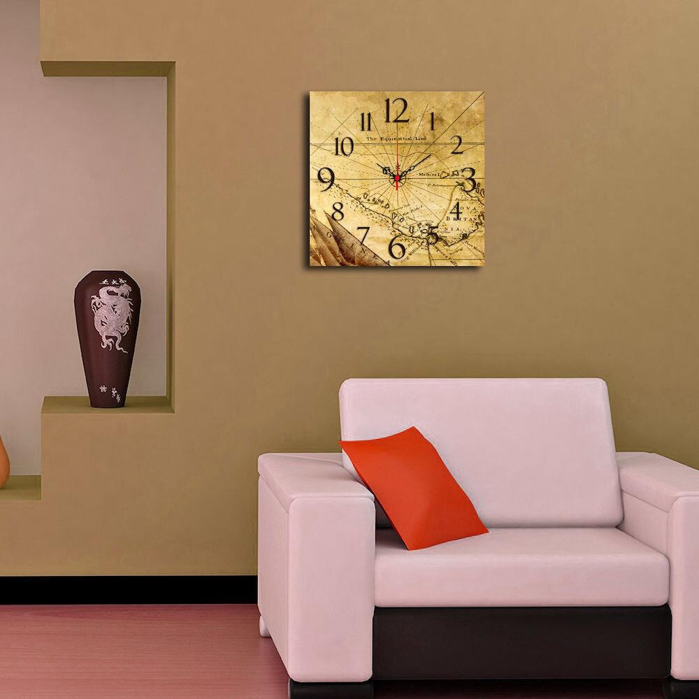 Ceas decorativ de perete din lemn Home Art, 238HMA3152, 40 x 40 cm, MDF
