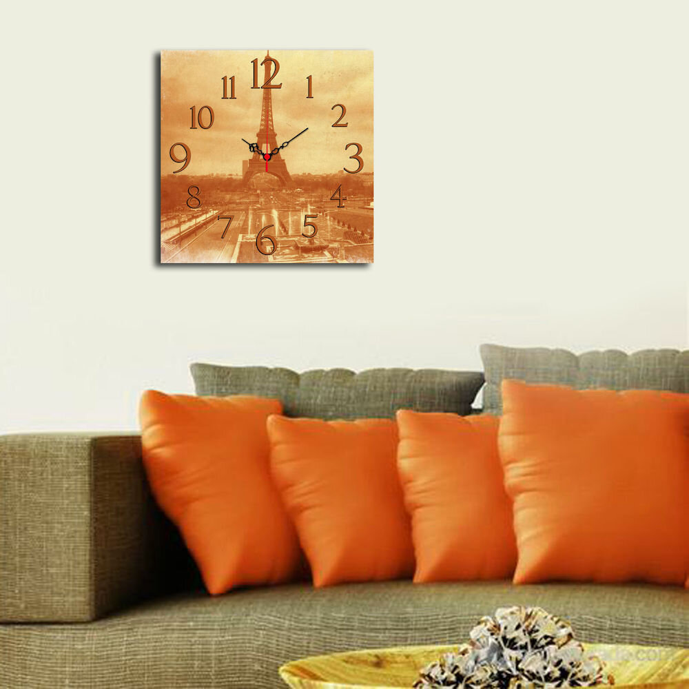 Ceas decorativ de perete din lemn Home Art, 238HMA3156, 40 x 40 cm, MDF