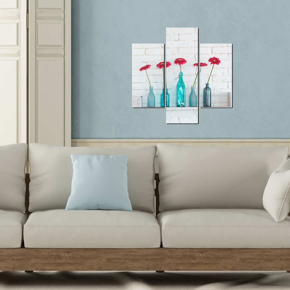 Tablou decorativ Multicanvas Three Art, 251TRE1944, 3 Piese, MDF