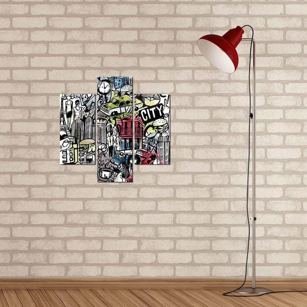 Tablou decorativ Multicanvas Three Art, 251TRE1956, 3 Piese, MDF