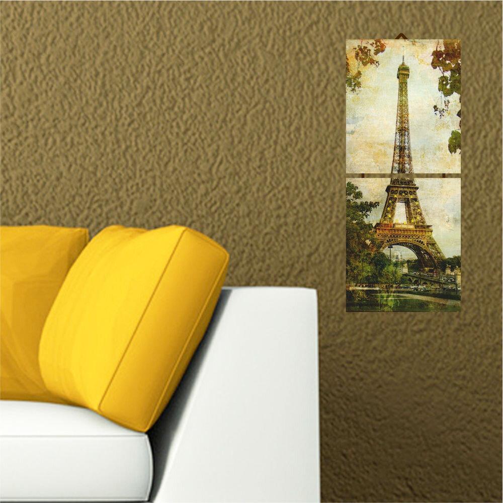 Tablou decorativ multicanvas Allure, 221ALL1901, 2 Piese, Turnul Eiffel, MDF (Grosime: 4mm)